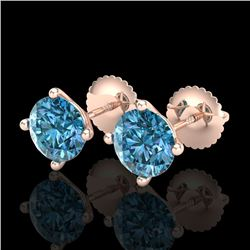 2 CTW Fancy Intense Blue Diamond Solitaire Art Deco Earrings 18K Rose Gold - REF-272R8K - 38245