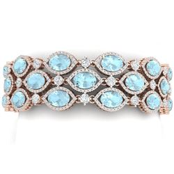 53.84 CTW Royalty Sky Topaz & VS Diamond Bracelet 18K Rose Gold - REF-1018N2Y - 38899