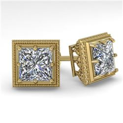 2.0 CTW VS/SI Princess Diamond Stud Earrings 14K Yellow Gold - REF-512X8T - 29785