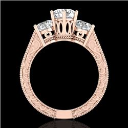 2.01 CTW VS/SI Diamond Solitaire Art Deco 3 Stone Ring 18K Rose Gold - REF-527X3T - 36930