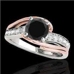 1.5 CTW Certified Vs Black Diamond Bypass Solitaire Ring Two Tone 10K White & Rose Gold - REF-72M4F