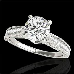 1.21 CTW H-SI/I Certified Diamond Solitaire Antique Ring 10K White Gold - REF-161W8H - 34720