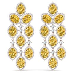 27.95 CTW Royalty Canary Citrine & VS Diamond Earrings 18K Rose Gold - REF-445M5F - 38938