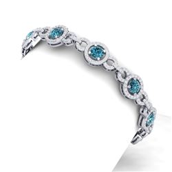10 CTW Si/I Fancy Blue And White Diamond Bracelet 18K White Gold - REF-790R9K - 40088
