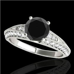1.58 CTW Certified Vs Black Diamond Solitaire Antique Ring 10K White Gold - REF-79W3H - 34624
