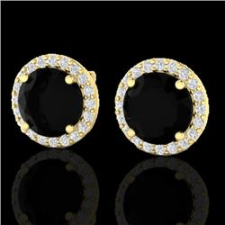 4 CTW Halo Black VS/SI Diamond Certified Micro Pave Earrings 18K Yellow Gold - REF-122T5X - 21481