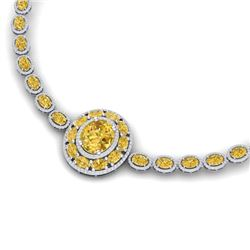 39.04 CTW Royalty Canary Citrine & VS Diamond Necklace 18K White Gold - REF-818N2Y - 39288