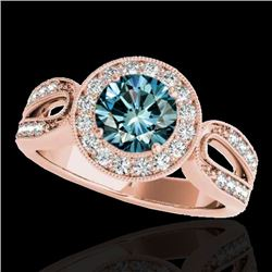 1.4 CTW SI Certified Fancy Blue Diamond Solitaire Halo Ring 10K Rose Gold - REF-174R2K - 34564