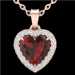 1 CTW Garnet & Micro Pave VS/SI Diamond Heart Necklace Halo 14K Rose Gold - REF-28W4H - 21338
