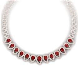33.4 CTW Royalty Designer Ruby & VS Diamond Necklace 18K Rose Gold - REF-1236W4H - 39439