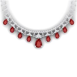 56.94 CTW Royalty Ruby & VS Diamond Necklace 18K White Gold - REF-1236Y4N - 38703