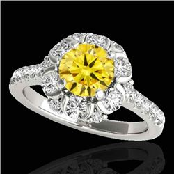 2.05 CTW Certified Si Fancy Intense Yellow Diamond Solitaire Halo Ring 10K White Gold - REF-245H5W -