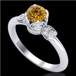 1 CTW Intense Fancy Yellow Diamond Engagement Art Deco Ring 18K White Gold - REF-127F3M - 37399