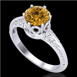 1 CTW Intense Yellow Diamond Solitaire Engagement Art Deco Ring 18K White Gold - REF-180K2R - 38120
