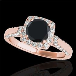 1.5 CTW Certified Vs Black Diamond Solitaire Halo Ring 10K Rose Gold - REF-68M8F - 33368