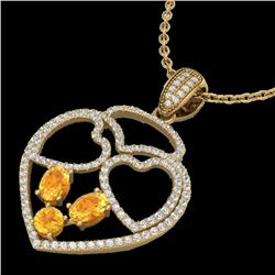 3 CTW Citrine & Micro Pave Designer Inspired Heart Necklace 14K Yellow Gold - REF-117F8M - 22538