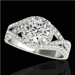 2 CTW H-SI/I Certified Diamond Solitaire Halo Ring Two Tone 10K White Gold - REF-345H5W - 33839