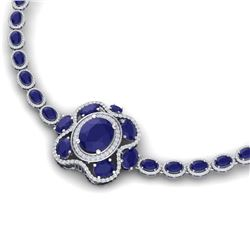 47.43 CTW Royalty Sapphire & VS Diamond Necklace 18K White Gold - REF-927N3Y - 39333