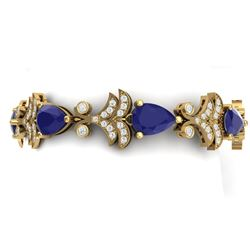 24.8 CTW Royalty Sapphire & VS Diamond Bracelet 18K Yellow Gold - REF-436M4F - 38738