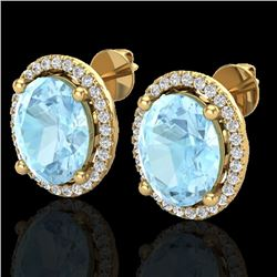 5 CTW Aquamarine & Micro Pave VS/SI Diamond Earrings Halo 18K Yellow Gold - REF-102W8H - 21046
