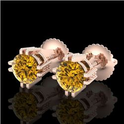 1.07 CTW Intense Fancy Yellow Diamond Art Deco Stud Earrings 18K Rose Gold - REF-143R6K - 37540