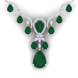 37.14 CTW Royalty Emerald & VS Diamond Necklace 18K White Gold - REF-763X6T - 38589
