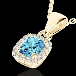 1.25 CTW Sky Blue Topaz & Micro VS/SI Diamond Certified Halo Necklace 10K Yellow Gold - REF-27N3Y -