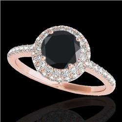 2.15 CTW Certified Vs Black Diamond Solitaire Halo Ring 10K Rose Gold - REF-87K3R - 33683