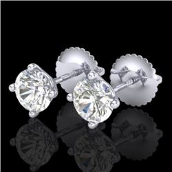1.01 CTW VS/SI Diamond Solitaire Art Deco Stud Earrings 18K White Gold - REF-155F5M - 37298