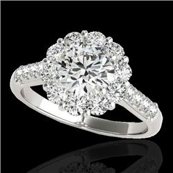 2 CTW H-SI/I Certified Diamond Solitaire Halo Ring 10K White Gold - REF-207R3K - 33418