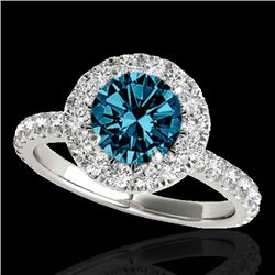 2 CTW SI Certified Fancy Blue Diamond Solitaire Halo Ring 10K White Gold - REF-227H3W - 33450