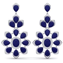 51.8 CTW Royalty Sapphire & VS Diamond Earrings 18K White Gold - REF-509W3H - 39051