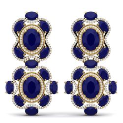 33.5 CTW Royalty Sapphire & VS Diamond Earrings 18K Yellow Gold - REF-490M9F - 39317