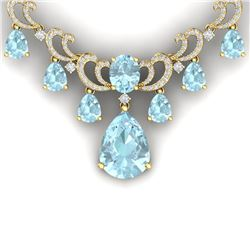 37.75 CTW Royalty Sky Topaz & VS Diamond Necklace 18K Yellow Gold - REF-890R9K - 38666