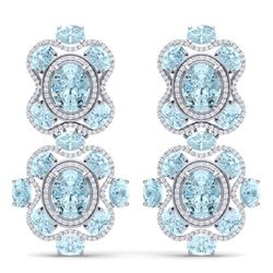 34.96 CTW Royalty Sky Topaz & VS Diamond Earrings 18K White Gold - REF-418N2Y - 39321