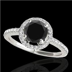 1.4 CTW Certified Vs Black Diamond Solitaire Halo Ring 10K White Gold - REF-61R8K - 34099