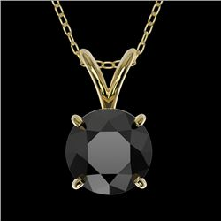 1 CTW Fancy Black VS Diamond Solitaire Necklace 10K Yellow Gold - REF-31X8T - 33187