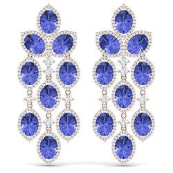 31.55 CTW Royalty Tanzanite & VS Diamond Earrings 18K Rose Gold - REF-718F2M - 38932