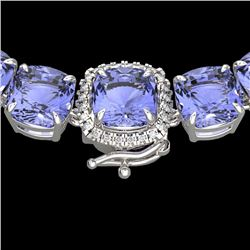 100 CTW Tanzanite & VS/SI Diamond Halo Micro Eternity Necklace 14K White Gold - REF-1345T3X - 23361