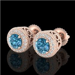 1.55 CTW Fancy Intense Blue Diamond Art Deco Stud Earrings 18K Rose Gold - REF-169T3X - 37657