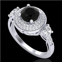 2.05 CTW Fancy Black Diamond Solitaire Art Deco 3 Stone Ring 18K White Gold - REF-180T2X - 38143