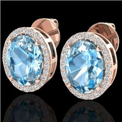 5.50 CTW Sky Blue Topaz & Micro VS/SI Diamond Halo Earbridal Ring 14K Rose Gold - REF-58Y4N - 20242