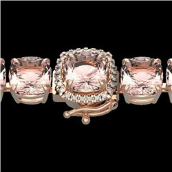 35 CTW Morganite & Micro Pave VS/SI Diamond Halo Bracelet 14K Rose Gold - REF-494M4F - 23316