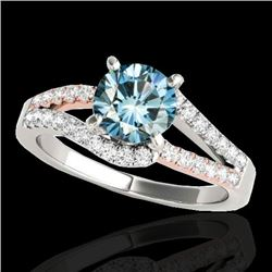 1.4 CTW SI Certified Fancy Blue Diamond Solitaire Ring Two Tone 10K White & Rose Gold - REF-176M4F -
