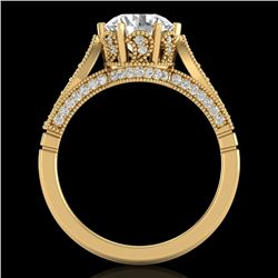 2.2 CTW VS/SI Diamond Art Deco Ring 18K Yellow Gold - REF-725T5X - 37240