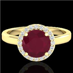 2 CTW Ruby & Halo VS/SI Diamond Micro Pave Ring Solitaire 18K Yellow Gold - REF-58F2M - 21642