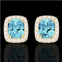 2.50 CTW Sky Blue Topaz & Micro VS/SI Diamond Certified Halo Earrings 10K Yellow Gold - REF-41N3Y -