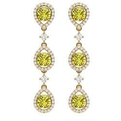 5.11 CTW Fancy Yellow SI Diamond Earrings 18K Yellow Gold - REF-418X2T - 39104