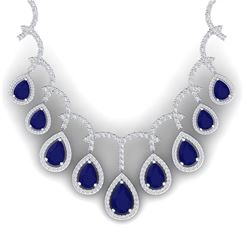 31.5 CTW Royalty Sapphire & VS Diamond Necklace 18K White Gold - REF-854F5M - 39351
