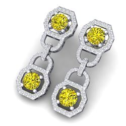 4 CTW Si/I Fancy Yellow And White Diamond Earrings 18K White Gold - REF-300K2R - 40136